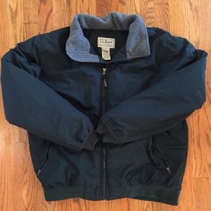 LL Bean forest green light puffer jacket